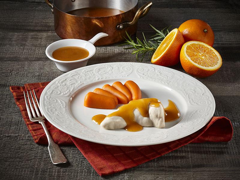 Poulet et carottes avec sauce à l'orange