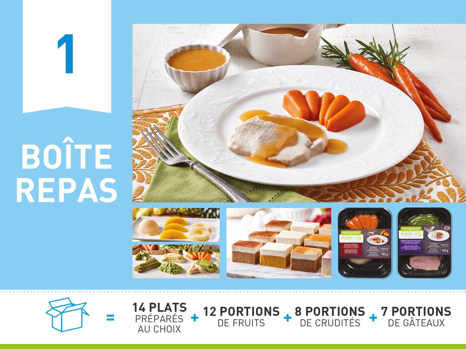 Boîte repas #1     ALIMENTS À TEXTURE ADAPTÉE ET SÉCURITAIRE